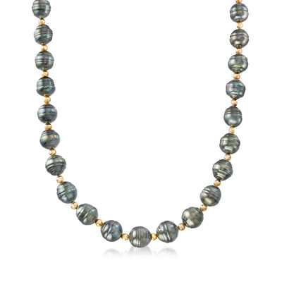 9-10mm Cultured Tahitian Baroque Pearl Necklace with 14kt Yellow Gold, , default