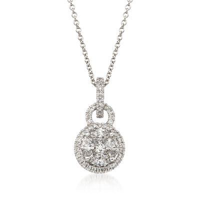 Simon G. .54 ct. t.w. Diamond Pendant Necklace in 18kt White Gold, , default