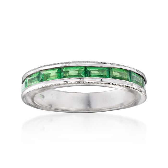 C. 1990 Vintage 2.20 ct. t.w. Green Garnet Ring in 14kt White Gold. Size 6