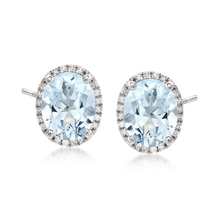 2.95 ct. t.w. Blue Aquamarine Stud Earrings with .10 ct. t.w. Diamonds in 14kt White Gold