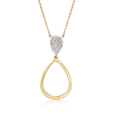 Open-Space Teardrop Necklace with Diamond Accents in 14kt Yellow Gold, , default