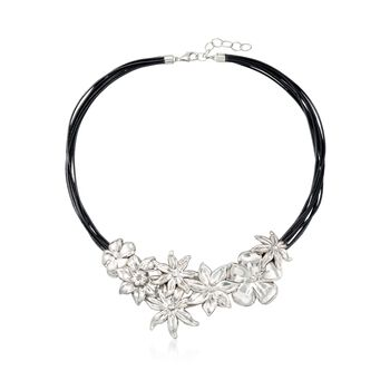"Sterling Silver and Black Leather Floral Necklace. 18"", , default"