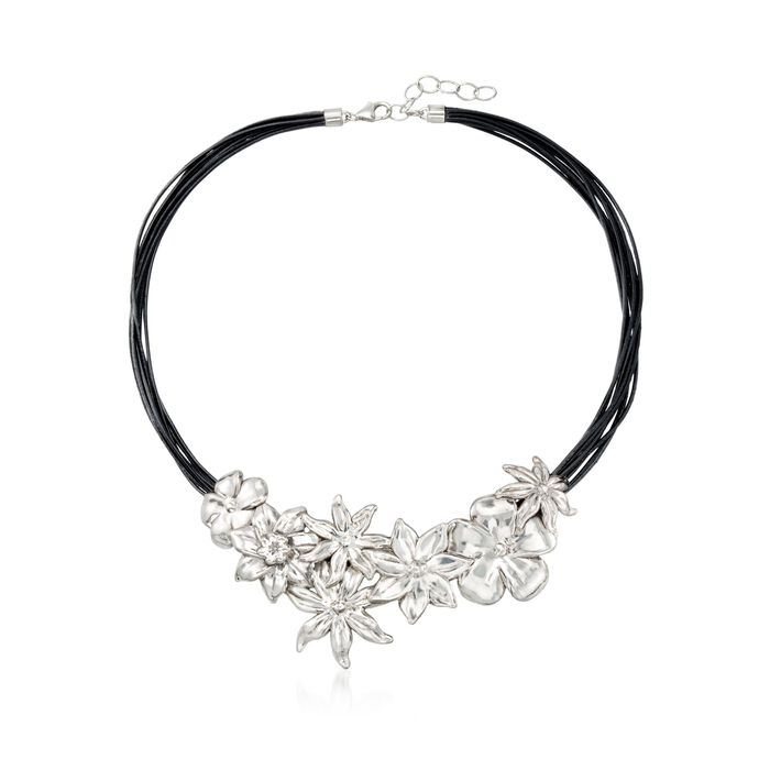"""Sterling Silver and Black Leather Floral Necklace. 18"""", , default"""