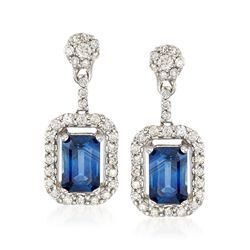 1.40 ct. t.w. Sapphire and .49 ct. t.w. Diamond Drop Earrings in 14kt White Gold , , default