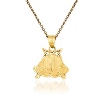 """14kt Yellow Gold Bell Pendant Necklace. 18"""", , default"""