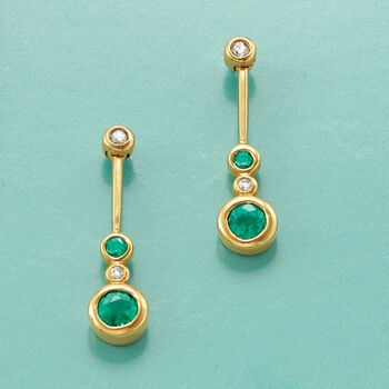 .37 ct. t.w. Bezel-Set Emerald Linear Drop Earrings with Diamond Accents in 14kt Gold , , default