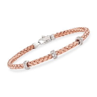 Simon G. .32 ct. t.w. Diamond Three-Station Woven Bangle Bracelet in 18kt Rose Gold, , default