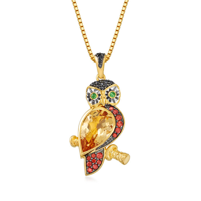 """3.23 ct. t.w. Multi-Gemstone Owl Pendant Necklace in 18kt Gold Over Sterling. 18"""""""
