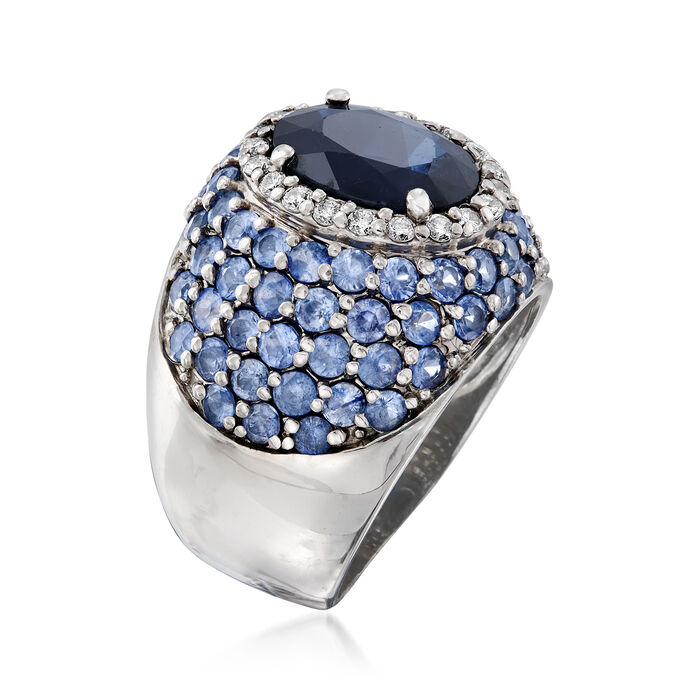 C. 1980 Vintage 6.25 ct. t.w. Sapphire and .30 ct. t.w. Diamond Dome Ring in 14kt White Gold