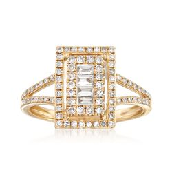 .58 ct. t.w. Baguette and Round Diamond Rectangle Ring in 14kt Yellow Gold, , default