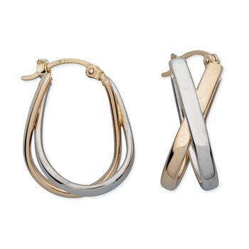 """14kt Two-Tone Gold Crisscross Hoop Earrings. 7/8"""" , , default"""