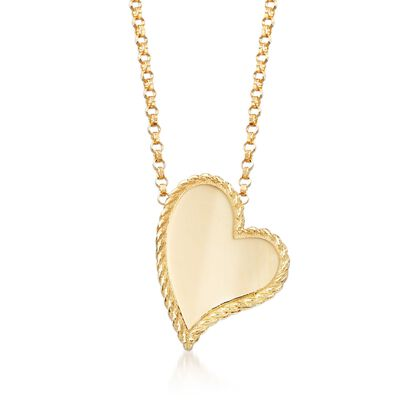 "Roberto Coin ""Princess"" 18kt Yellow Gold Heart Pendant Necklace, , default"
