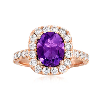 C. 2000 Vintage 2.00 Carat Amethyst and .94 ct. t.w. Diamond Ring in 18kt Rose Gold