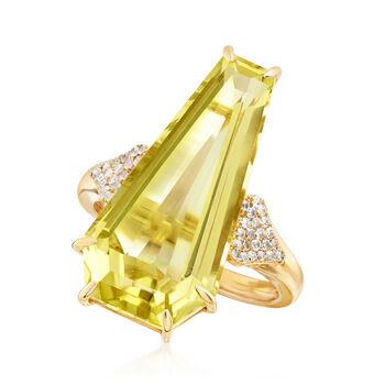 12.00 Carat Lemon Quartz and .30 ct. t.w. White Zircon Ring in 18kt Gold Over Sterling