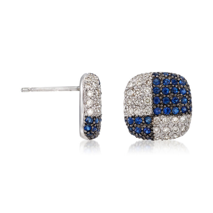 C. 1980 Vintage 1.40 ct. t.w. Sapphire and 1.00 ct. t.w. Diamond Checkerboard Earrings in 18kt White Gold