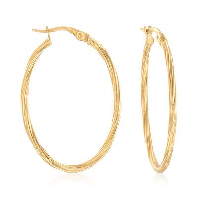 Italian 18kt Yellow Gold Oval-Shaped Twisted Hoop Earrings, , default