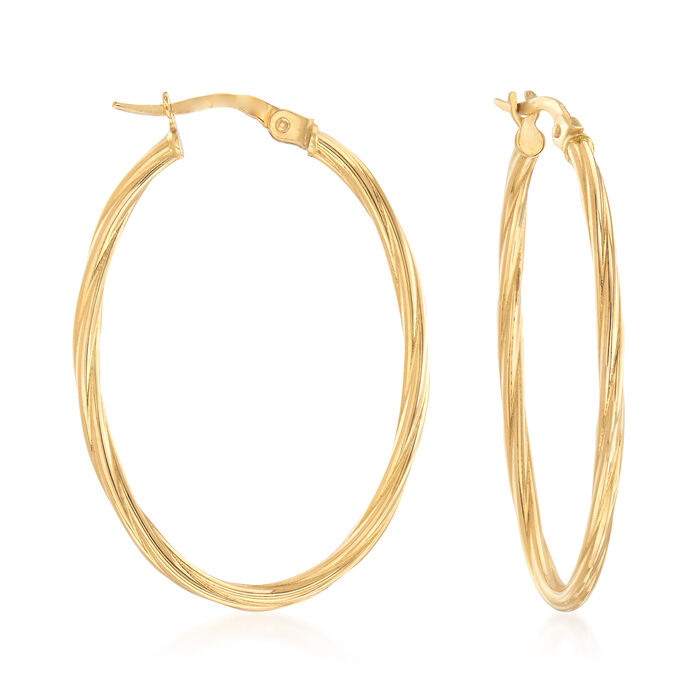 "Italian 18kt Yellow Gold Oval-Shaped Twisted Hoop Earrings. 1 3/8"", , default"