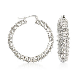 "1.00 ct. t.w. Diamond Hoop Earrings in Sterling Silver. 1 3/8"", , default"
