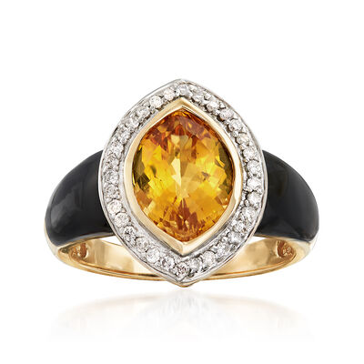 Black Onyx and 3.10 Carat Citrine Ring With .19 ct. t.w. Diamonds in 14kt Yellow Gold, , default