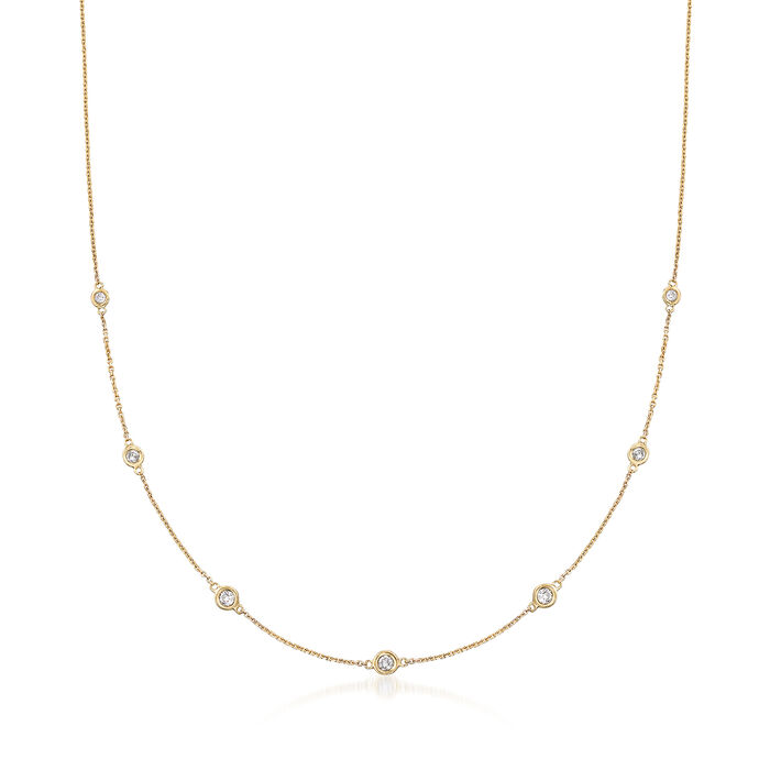 .33 ct. t.w. Graduated Bezel-Set Diamond Station Necklace in 14kt Yellow Gold