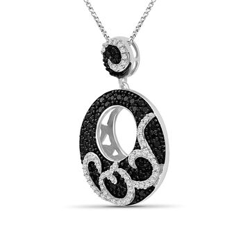 """1.00 ct. t.w. Black and White Diamond Swirl Pendant Necklace in Sterling Silver. 18"""", , default"""