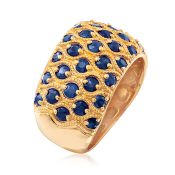 3.00 ct. t.w. Sapphire Multi-Row Ring in 18kt Gold Over Sterling