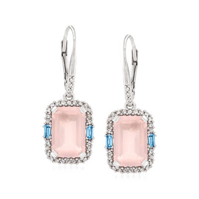6.00 ct. t.w. Rose Quartz, .60 ct. t.w. White Zircon and .20 ct. t.w. Blue Topaz Drop Earrings in Sterling Silver