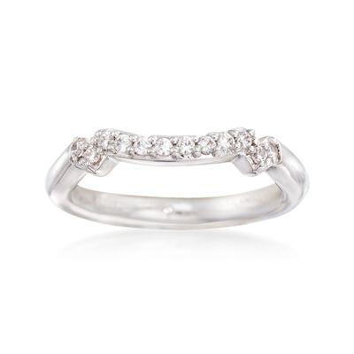 Gabriel Designs .18 ct. t.w. Diamond Curved Wedding Ring in 14kt White Gold, , default
