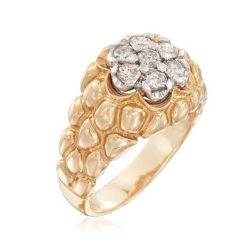 C. 1980 Vintage 1.15 ct. t.w. Diamond Cluster Ring in 14kt Yellow Gold. Size 11.5, , default