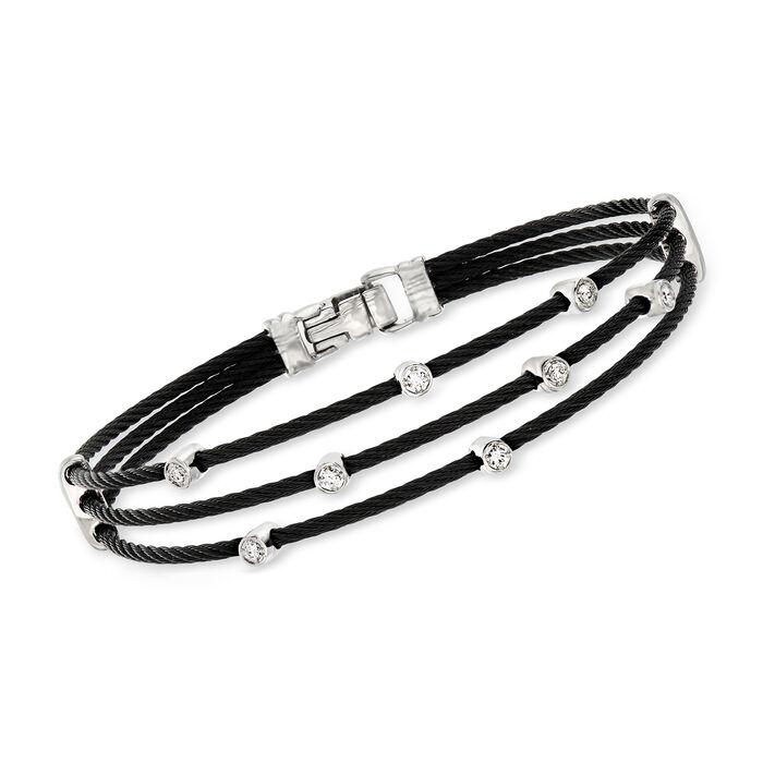 """ALOR """"Noir"""" .18 ct. t.w. Diamond Black Cable Bracelet with 18kt Two-Tone Gold. 7"""""""
