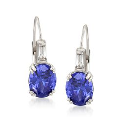 Oval Simulated Tanzanite and .50 ct. t.w. CZ Earrings in Sterling Silver, , default