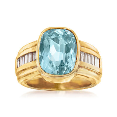 C. 1980 Vintage 6.50 Carat Aquamarine and .60 ct. t.w. Diamond Ring in 18kt Yellow Gold