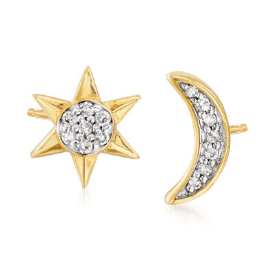 14kt Yellow Gold Moon and Star Earrings with Diamond Accents