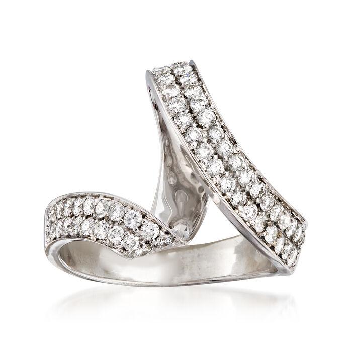 C. 1990 Vintage Piero Milano .90 ct. t.w. Diamond Swirl Ring in 18kt White Gold. Size 7