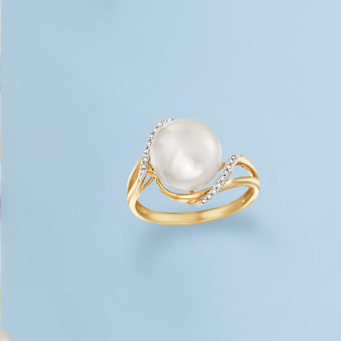 10-10.5mm Cultured Pearl Wave Ring with Diamond Accents in 14kt Yellow Gold