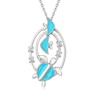 Turquoise Enamel Sea Life Pendant Necklace with .18 ct. t.w. White Topaz in Sterling Silver