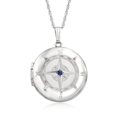 Sterling Silver Compass Locket Pendant Necklace with Sapphire Accents