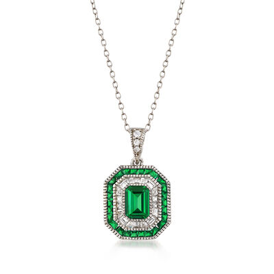 Simulated Emerald and .52 ct. t.w. CZ Pendant Necklace in Sterling Silver, , default