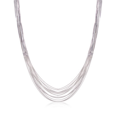 Italian Sterling Silver Multi-Strand Snake and Bead Chain Waterfall Necklace, , default