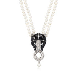 Italian Cultured Pearl and Black Enamel Panther Necklace With 2.30 ct. t.w. CZs in Sterling Silver, , default