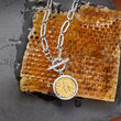 Italian Replica Bee Lira Coin Necklace in Sterling Silver and 18kt Gold Over Sterling