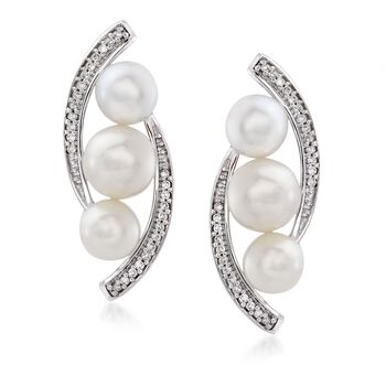 5-6mm Cultured Pearl and .10 ct. t.w. Diamond Curved Edge Earrings in 14kt White Gold , , default