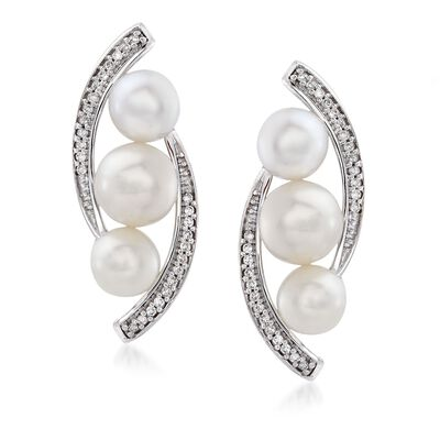 5-6mm Cultured Pearl and .10 ct. t.w. Diamond Curved Edge Earrings in 14kt White Gold, , default