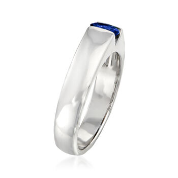 C. 1990 Vintage Salvini .35 Carat Oval Sapphire Ring in 18kt White Gold. Size 6.75