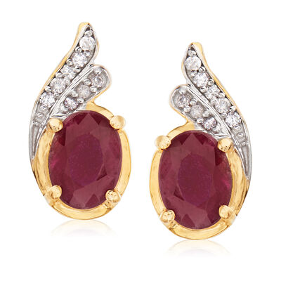 3.40 ct. t.w. Ruby and .11 ct. t.w. Diamond Earrings in 18kt Gold Over Sterling