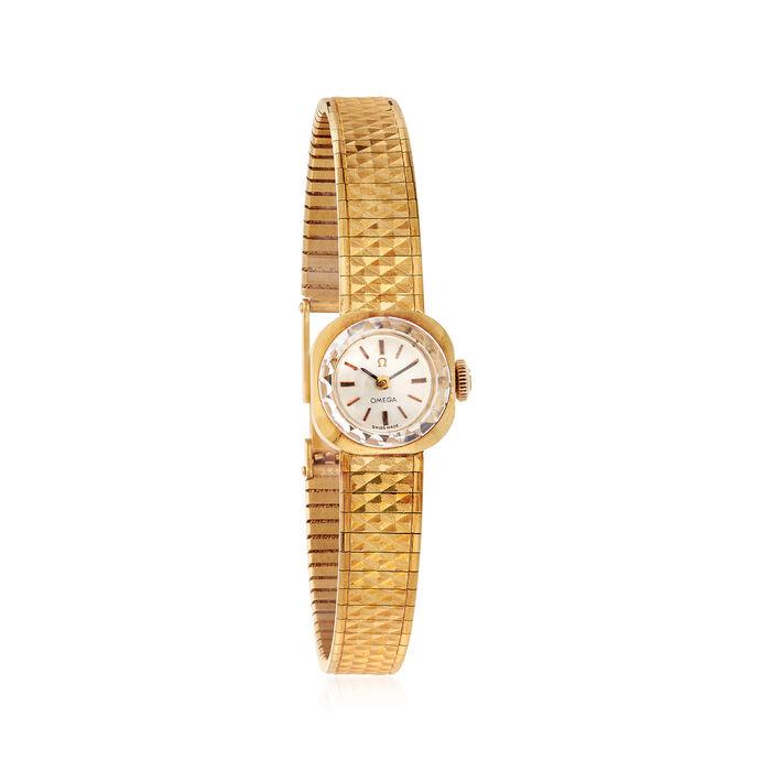 C. 1960 Vintage Omega De Ville Women's 15mm 18kt Yellow Gold Manual Watch. Size 7, , default