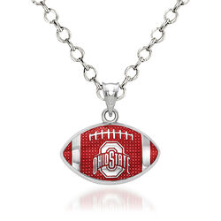 "Sterling Silver the Ohio State University Enameled Football Pendant Necklace. 18"", , default"