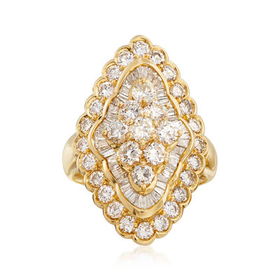 C. 1980 Vintage 3.00 ct. t.w. Diamond Cluster Ring in 18kt Yellow Gold, , default