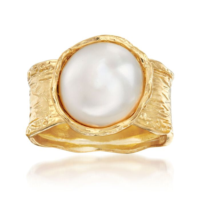 11.5-12mm Cultured Button Pearl Ring in 18kt Yellow Gold Over Sterling