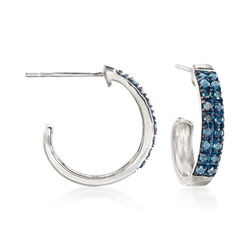 ".25 ct. t.w. Blue Diamond J-Hoop Earrings in Sterling Silver. 1/2"", , default"